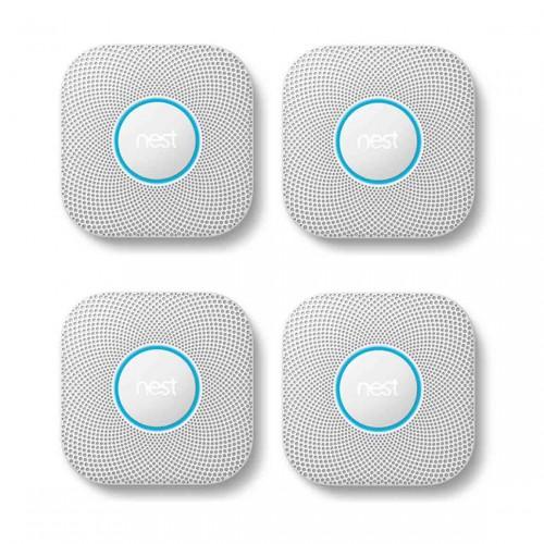 Google Nest Protect - Rauch- und Kohlenmonoxidmelder (2. Generation) 4er-Set