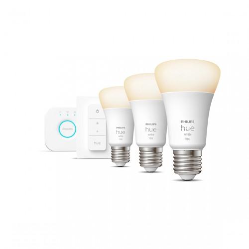 Philips Hue White E27 Bluetooth Starter Kit - 3 Lampen, Bridge + Dimmschalter