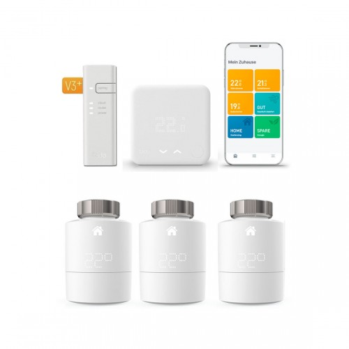 tado° Smart Home Starter Kit V3+ mit 3 Heizkörper- und 1 Raumthermostat & Bridge