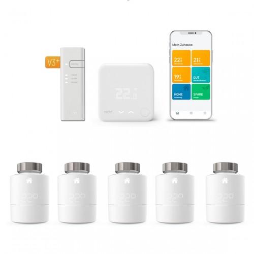 tado° Smartes Heizkörper-Thermostat Starter Kit V3+ mit 5 Thermostaten + Funk-Temperatursensor