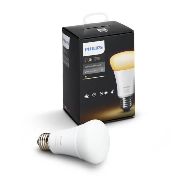 Philips Hue White Ambience E27 LED-Lampe vor der Verpackung