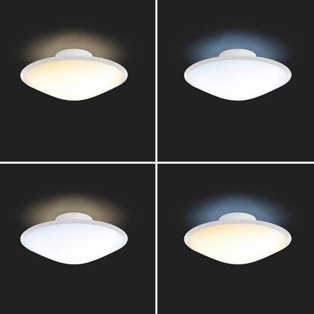 Philips Hue White Ambiance Phoenix Deckenleuchte in dunkler Umgebung