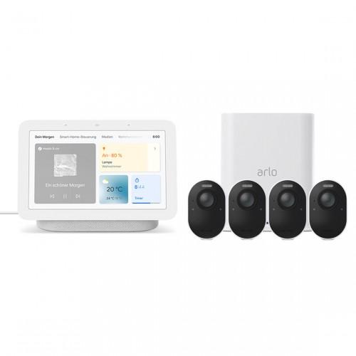 Arlo Ultra VMS5440 - Kabelloses 4K-Überwachungssystem mit 4 Kameras + Google Nest Hub (2. Generation)