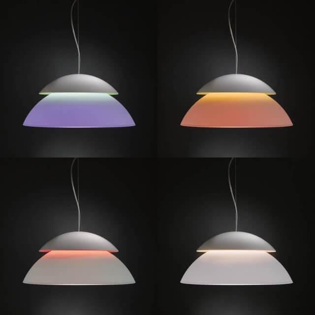 Philips Hue Beyond White and Color Ambiance LED-Pendelleuchte in verschiedenen färben dunkler Umgebung