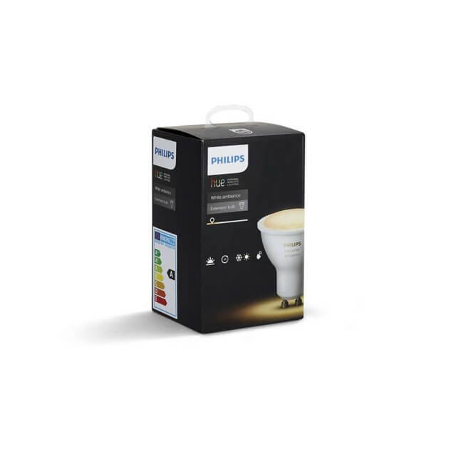 Philips Hue White Ambiance GU10 LED-Lampe vor Verpackung