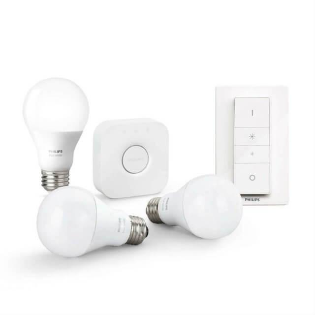 Philips Hue White Starter Kit E27 - 3 Lampen, Bridge + Dimmschalter in weiß