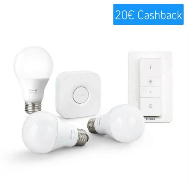 Philips Hue White Starter Kit E27 - 3 Lampen, Bridge + Dimmschalter Cashback_Aktion