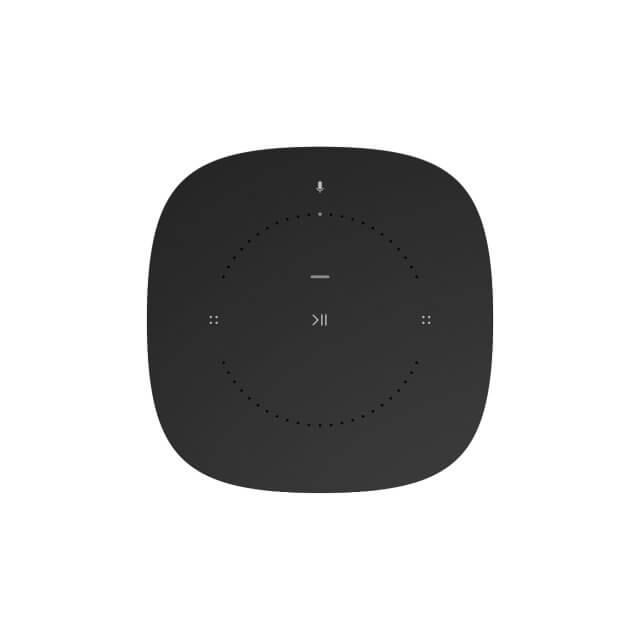 Sonos One WLAN-Lautsprecher mit Sprachsteuerung in schwarz in Ansicht von oben