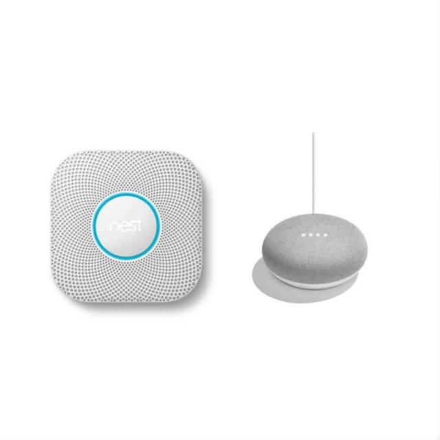 Nest Protect Rauch- und Kohlenmonoxidmelder und Google Home Mini Sprachassistent in hellgrau