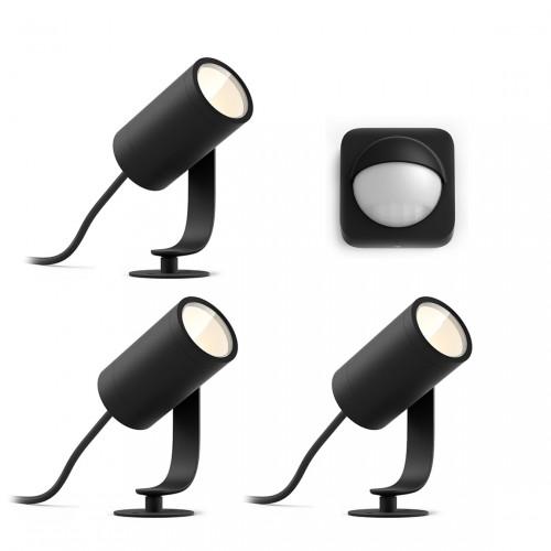 Philips Hue LED Spot Lily Basis Kit (3er-Set) + Philips Hue Outdoor Sensor