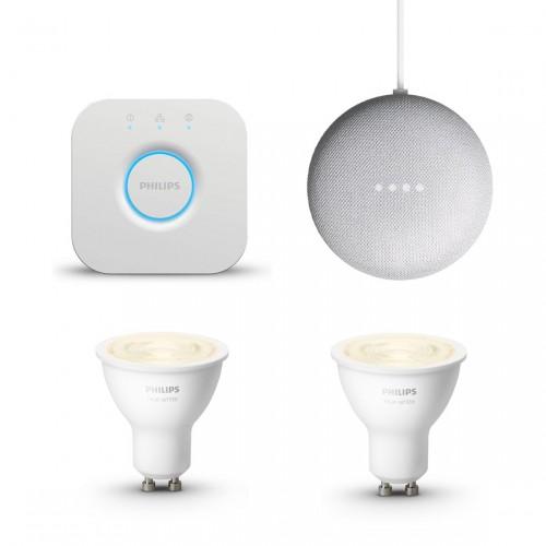 Philips Hue White GU10 Bluetooth 2er-Set + Philips Hue Bridge + Google Nest Mini