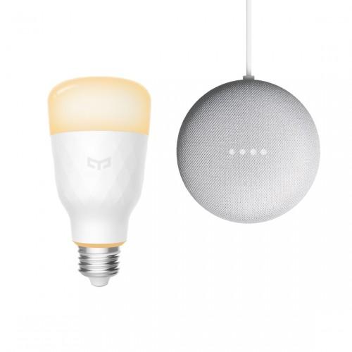 Yeelight Smart LED Lampe 1S, dimmbar Weiß + Google Nest Mini