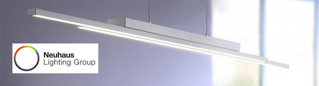 Smarte Paul Neuhaus Deckenlampe neben Neuhaus Lighting Group Logo