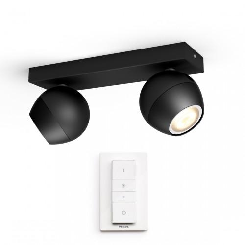 Philips Hue White Ambiance Buckram Spot 2flg. 2x350lm + Dimmschalter