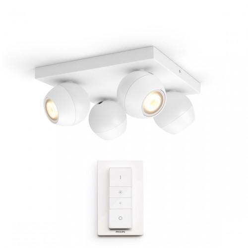 Philips Hue White Ambiance Buckram Spot 4flg. 4x350lm + Dimmschalter