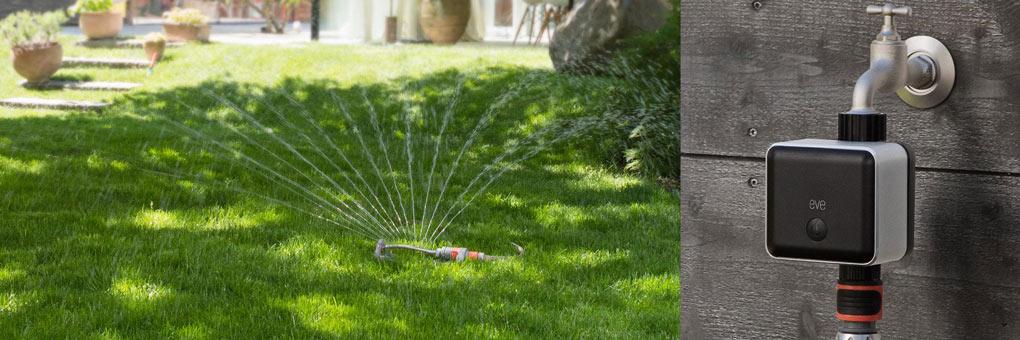 Eve smarte Wassersteuerung in Garten mit Rasensprenger