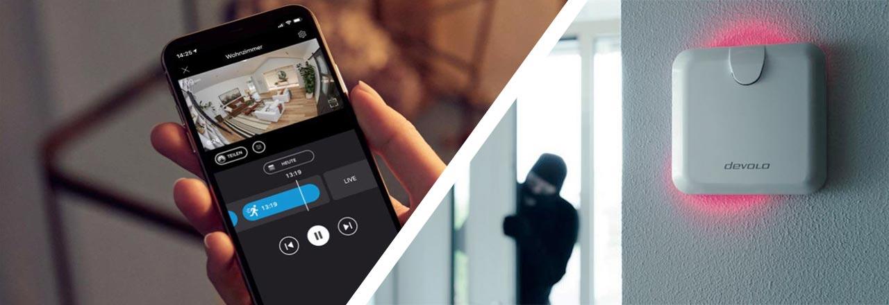 Geteiltes Bild mit geöffneter Smartphone App mit Überwachungskamerabild und an Wand montiertem Bewegungsmelder und Einbrecher im Hintergrund