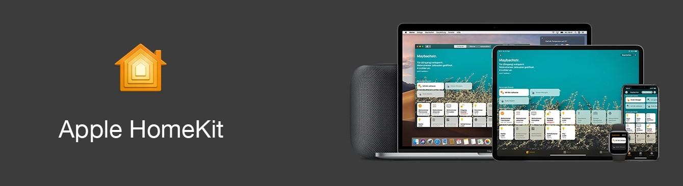 Apple Homekit Logo mit geöffneter App auf Apple Geräten