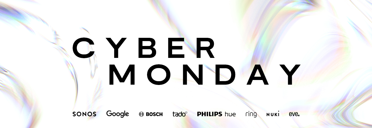 Cyber Monday Schriftzug über Markenlogos