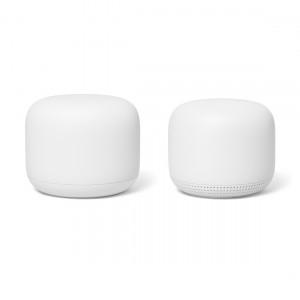 Google Nest Wifi 2er-Set - 1 Router und 1 Access Point frontale Ansicht
