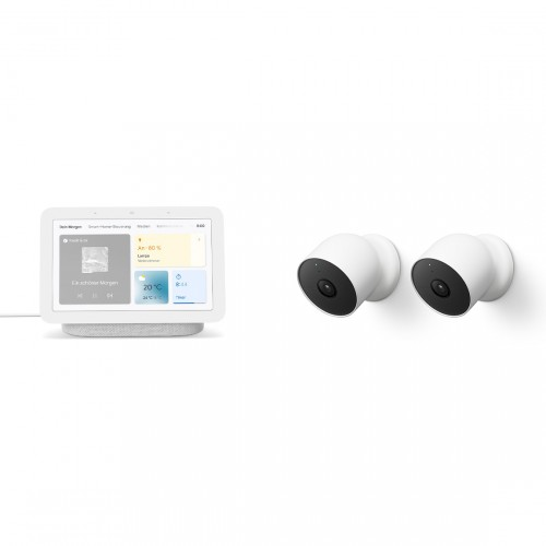 Google Nest Cam (mit Akku) 2-Pack + Google Nest Hub (2. Generation)