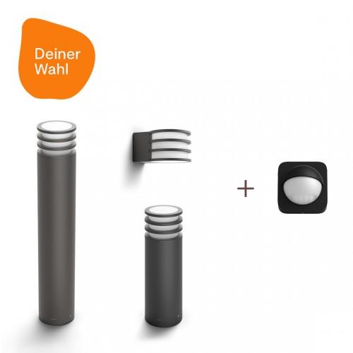 Philips Hue Lucca 3er-Pack Deiner Wahl + Outdoor Sensor
