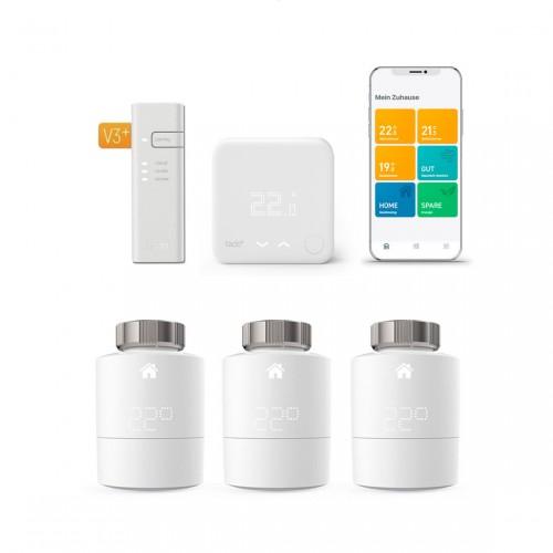tado° Smartes Heizkörper-Thermostat Starter Kit V3+ mit 3 Thermostaten + Funk-Temperatursensor