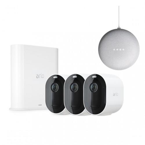 Arlo Pro 3 Kabelloses 2K-Überwachungssystem mit 3 Kameras + Google Nest Mini