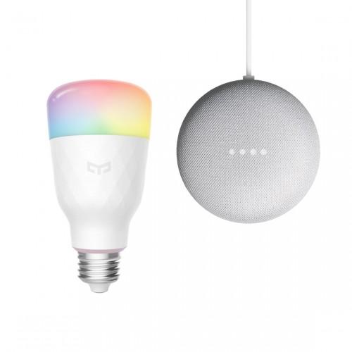 Yeelight Smart LED Lampe 1S, Color + Google Nest Mini