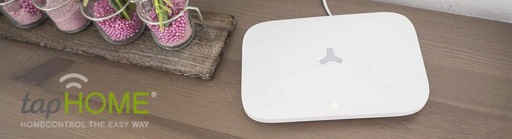 Smartes tapHOME Alarm neben tapHOME Logo