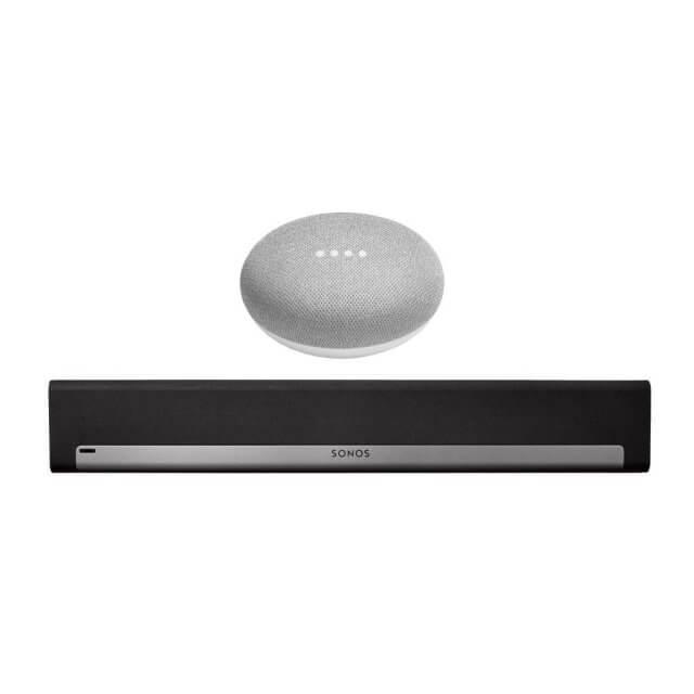 Sonos PLAYBAR WLAN Lautsprecher in schwarz und Google Home Mini Sprachassistent in hellgrau