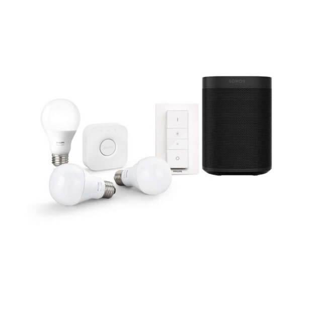Songs One WLAN Lautsprecher in schwarz mit Philips Hue White E27 Starter Kit in weiß