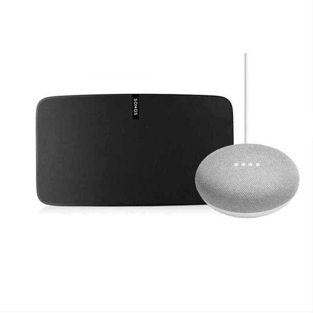 Sonos PLAY:5 WLAN Lautsprecher in schwarz und Google Home Mini Sprachassistent in hellgrau