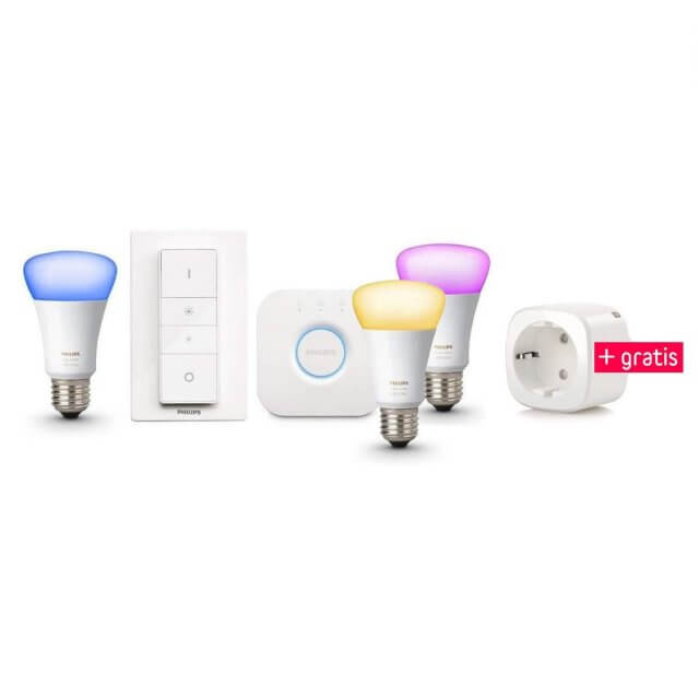 Philips Hue White and Color Ambiance E27 3er Starter Kit und gratis Elgato Eve Energy Steckdose