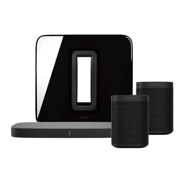 Sonos One PLAYBASE 5.1 Heimkino Set in schwarz bestehend aus 2 Sonos One, einem Sonos SUB und einer Sonos Playbase