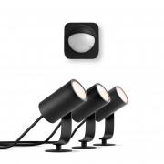 Philips Hue LED Spot Lily Basis Kit Dreierset + Philips Hue Outdoor Sensor