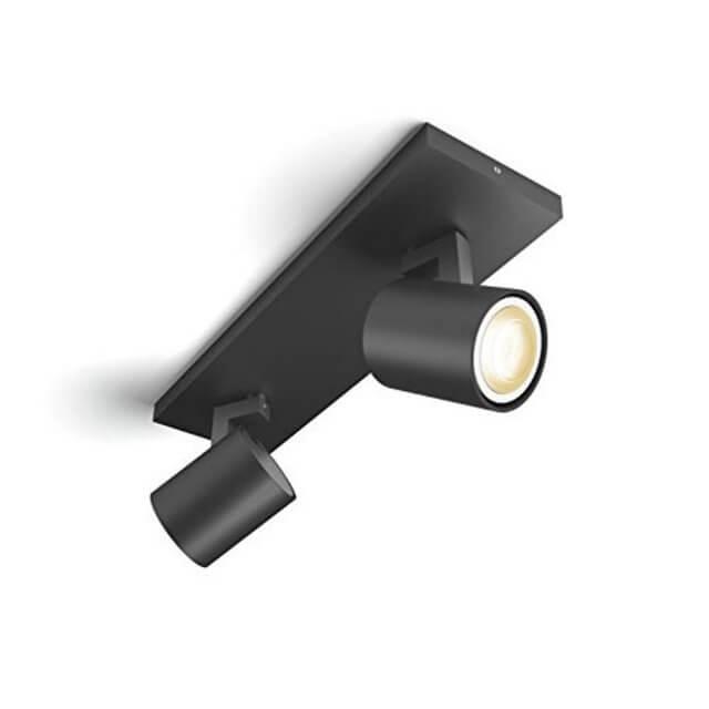 Philips Hue Runner LED 2-er Spot 2x250lm in schwarz in schräger Ansicht