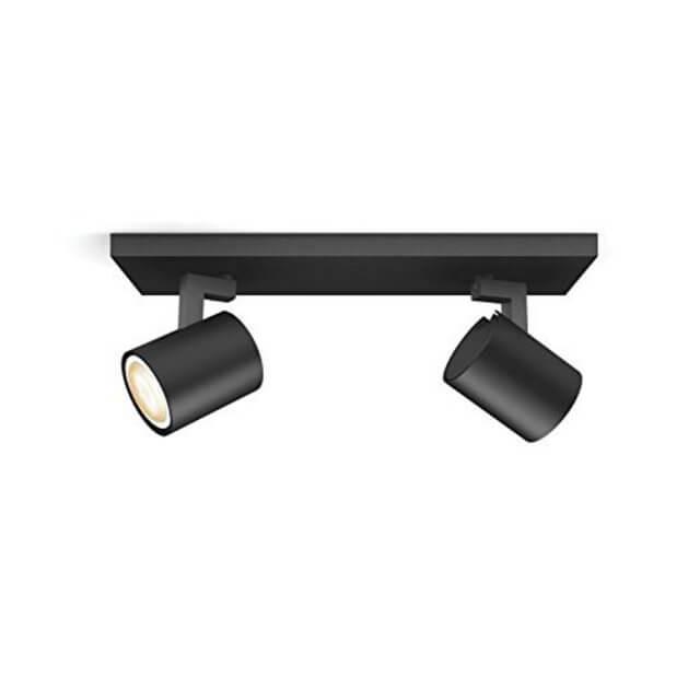 Philips Hue Runner LED 2-er Spot 2x250lm in schwarz in seitlicher Ansicht