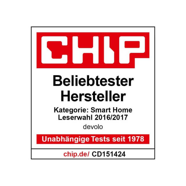 devolo Home Control Alarmsirene CHIP Preisträger für Beliebtester Hersteller