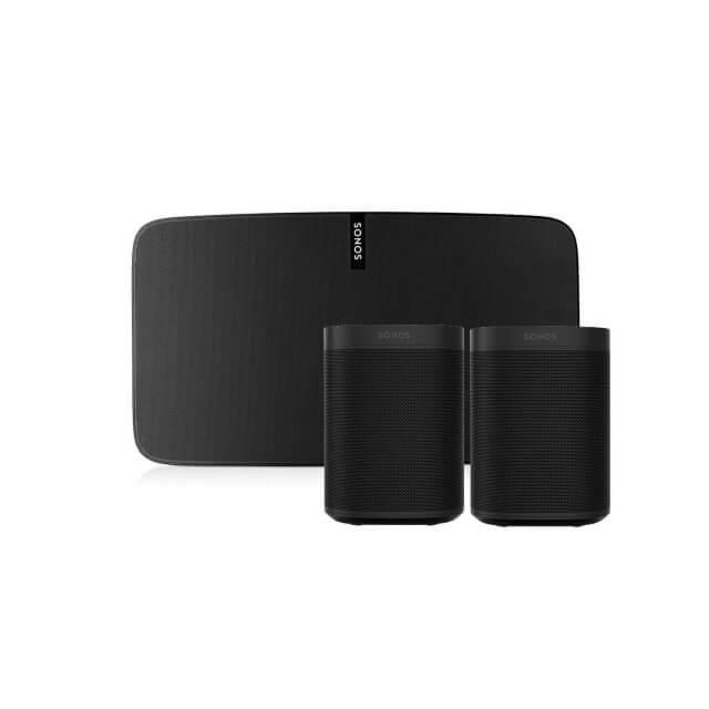 Sonos One Multiroom Set in schwarz mit einem Sonos Play 5 und zwei Sonos One
