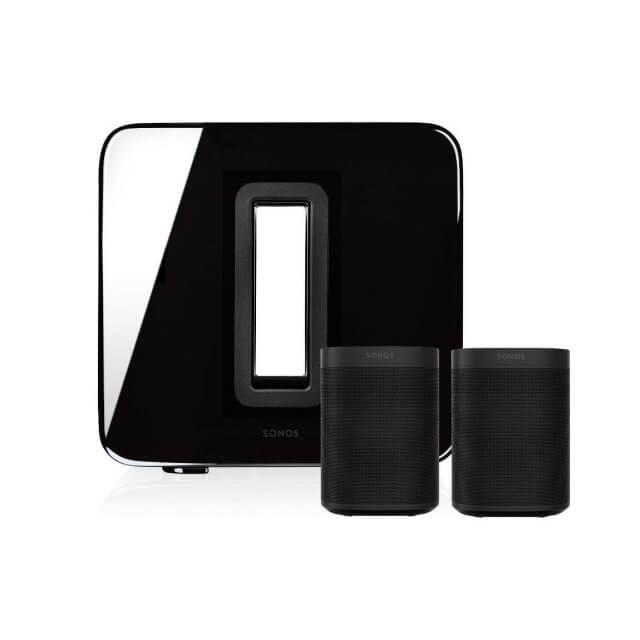 Sonos One Stereo Set in schwarz aus einem Sonos Sub und zwei Sonos One