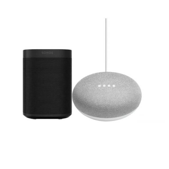 Sonos One WLAN Lautsprecher in schwarz + Google Home mini Sprachassistent in hellgrau