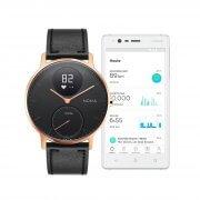 Nokia Steel HR Schwarz und Rose Gold - 36 mm mit schwarzem Armband neben App