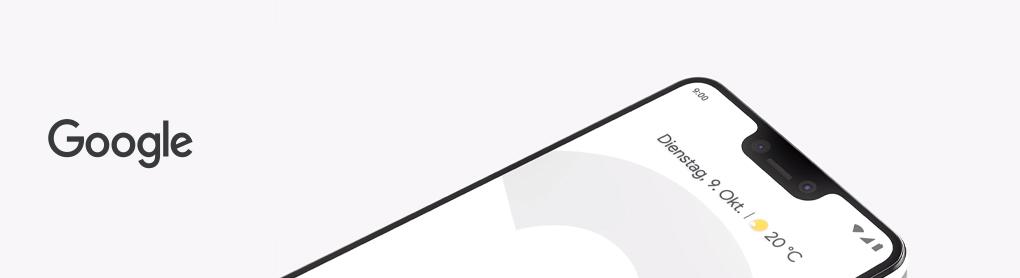 Google Pixel Nahaufnahme neben Google Logo