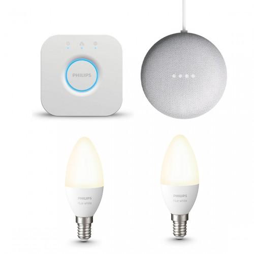 Philips Hue White E14 Bluetooth 2er-Set + Philips Hue Bridge + Google Nest Mini
