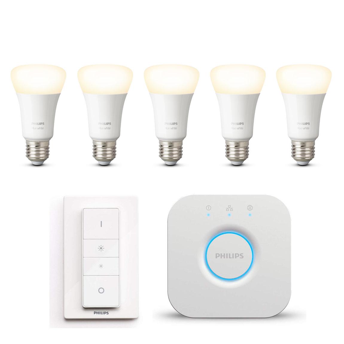 Philips Hue White E27 Bluetooth Starter Kit - 5 Lampen, Bridge, Dimmschalter