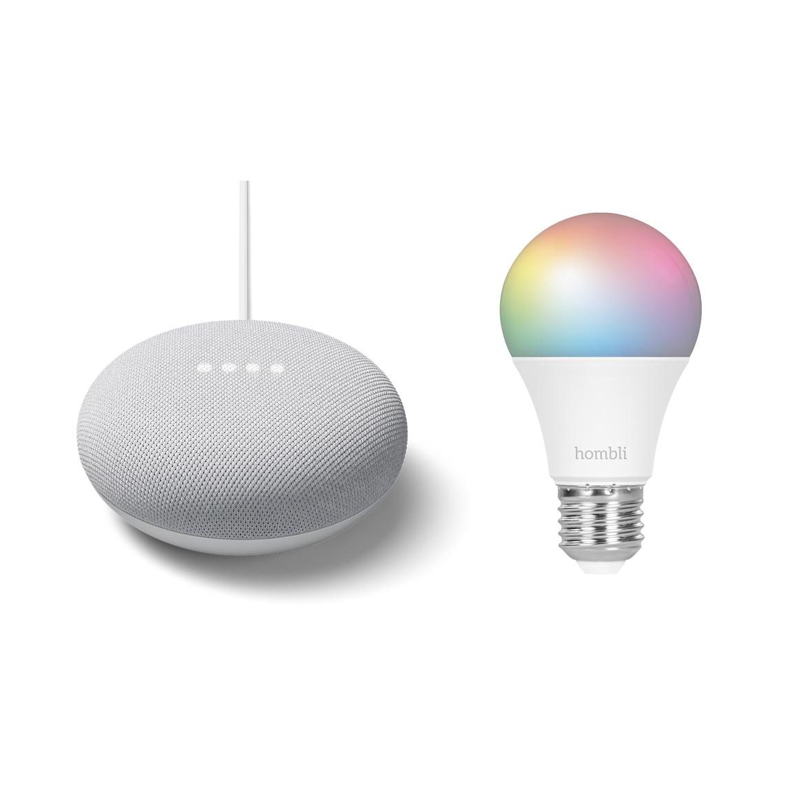 Google Nest Mini + Hombli Smart Bulb E27 Color Lampe