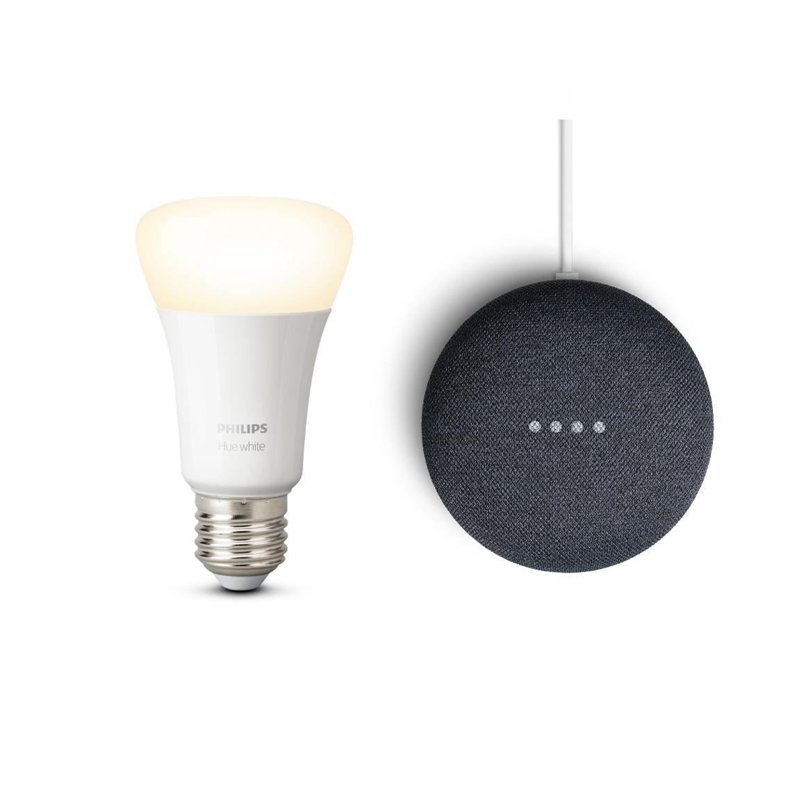 Google Nest Mini + gratis Philips Hue White E27 Bluetooth