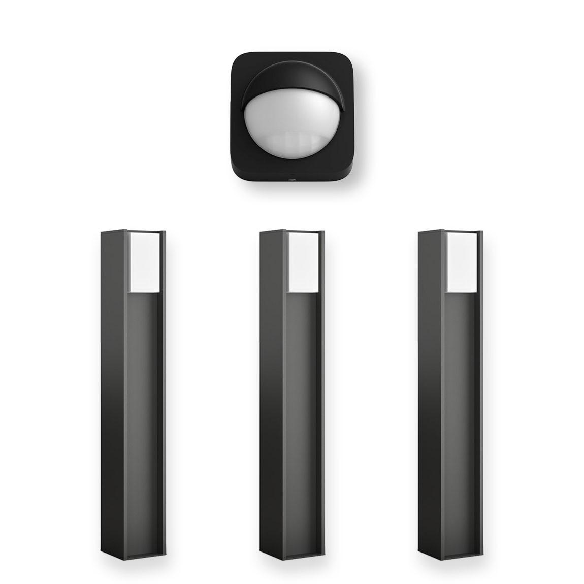 Philips Hue Turaco Wegeleuchten Dreierpack + Philips Hue Outdoor Sensor