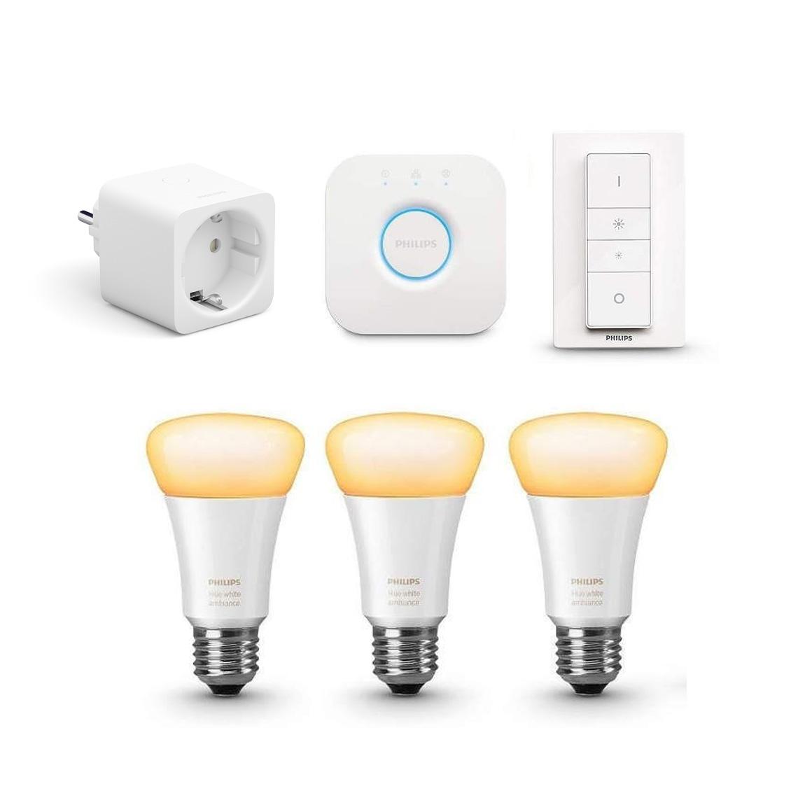 Philips Hue White Ambiance E27 Bluetooth Starter Kit + Smarte Steckdose